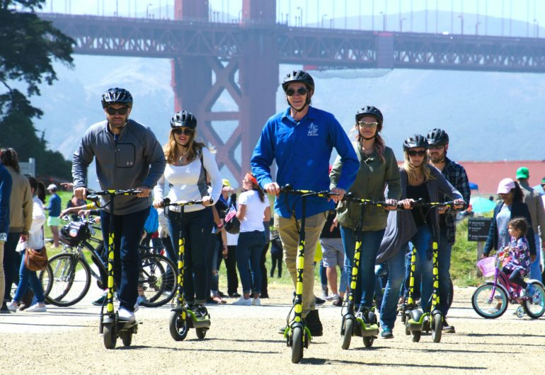 electric scooter tour san francisco fun on e-scooters on bay trail