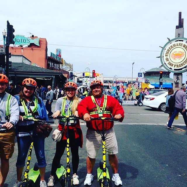 Good morning from @fishermanswharf This holiday weekend get your group or team together for the newest scooter adventure in San Francisco. Your group will enjoy a beautiful day exploring the San Francisco waterfront from the Wharf to the Golden Gate Bridge. Get your scooter 🛴 fix with us! We offer fully guided and in on kick butt . . . . .
