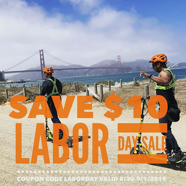 """Labor Day sale on San Francisco Electric Scooter tours! Start your E-scooter adventure in @fishermanswharf or in . . The E-scooter tour route starts in @fishermanswharf and goes to the @golden_gate_bridge and back. .The Golden Gate Park route travels from the museums to Ocean beach and back., Enter or mention code """"Labor Day"""" to save $10.00 per person. Get out and scooter through San Francisco waterfront or beautiful Golden Gate Park this Labor Day weekend. . . Call 415-474-3130 for reservation or book online https://electrictourompany.com .. . . .  . . .offer has no cash value and cannot be combined with other discounts."""