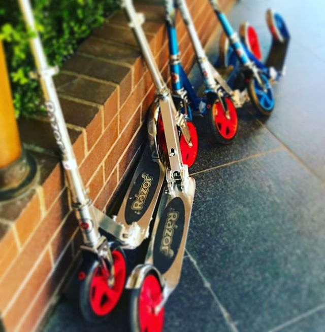 So these are cool 😎 old school kick scooters- ours are a bit faster and a lot less work. Enjoy the ride with us! It's a beautiful day to explore the San Francisco waterfront to the Golden Gate Bridge. Get your scooter 🛴 fix with us!  We offer fully guided in on kick butt yep we are the and company during the . . . . . .
