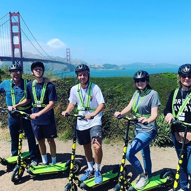 Yet another perfect spot for a vacation pic of the Golden Gate Bridge. We say it is always a beautiful day for an Electric Scooter Tour to the ! Don't let @karlthefog stop you from getting out and seeing the sights. Your San Francisco bucket list sightseeing destination should be the Golden Gate Bridge!  Enjoy the chilly summer weather here in on one of our  adventures. In no time at all you will be taking in the beautiful views from the South end of the span. Fully guided tours start from and travel to the on our kick-butt electric scooter 🛴tours with 2.5 hours of riding fun. We also offer tours in Golden Gate Park that cover the entire 1000 acres. . . . . . .